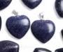 Sinine liivakivi ehk sünteeetiline kuldkivi ripats süda