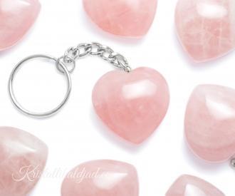 Roosa kvarts võtmehoidja süda