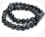 Lumehelbe obsidiaan käevõru ümarate kividega