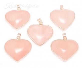 Roosa kvarts südameripats hõberaamis