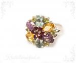 Granaat, tsitriin, oliviin, sinine topaas, ametüst hõbesõrmus lill