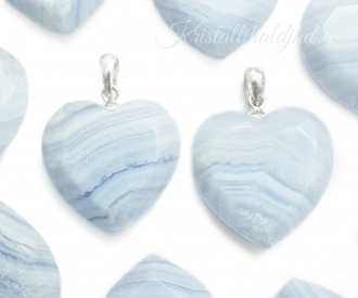 Sinine pitsahhaat hõberipats süda fassetitud