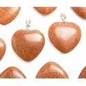 Kuldne liivakivi ehk sünteetiline päikesekivi ripats süda