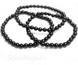 Obsidiaan must käevõru ümarate kividega