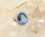 Sinine topaas, tsirkoonid hõbesõrmus Sri Lankalt