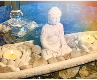 Buddha kuju, rutiilkvartsi ja lootose küünlaalustega