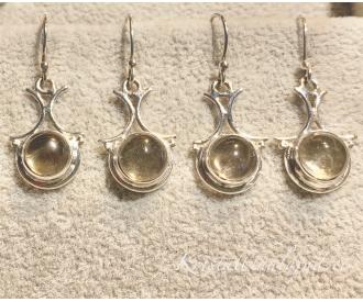 Tsitriin hõbekõrvarõngad ornament