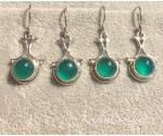 Obsidiaan roheline hõbekõrvarõngad ornament
