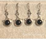 Obsidiaan must hõbekõrvarõngad ornament